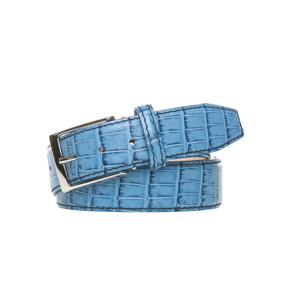 Faux Alligator Belt - Blue