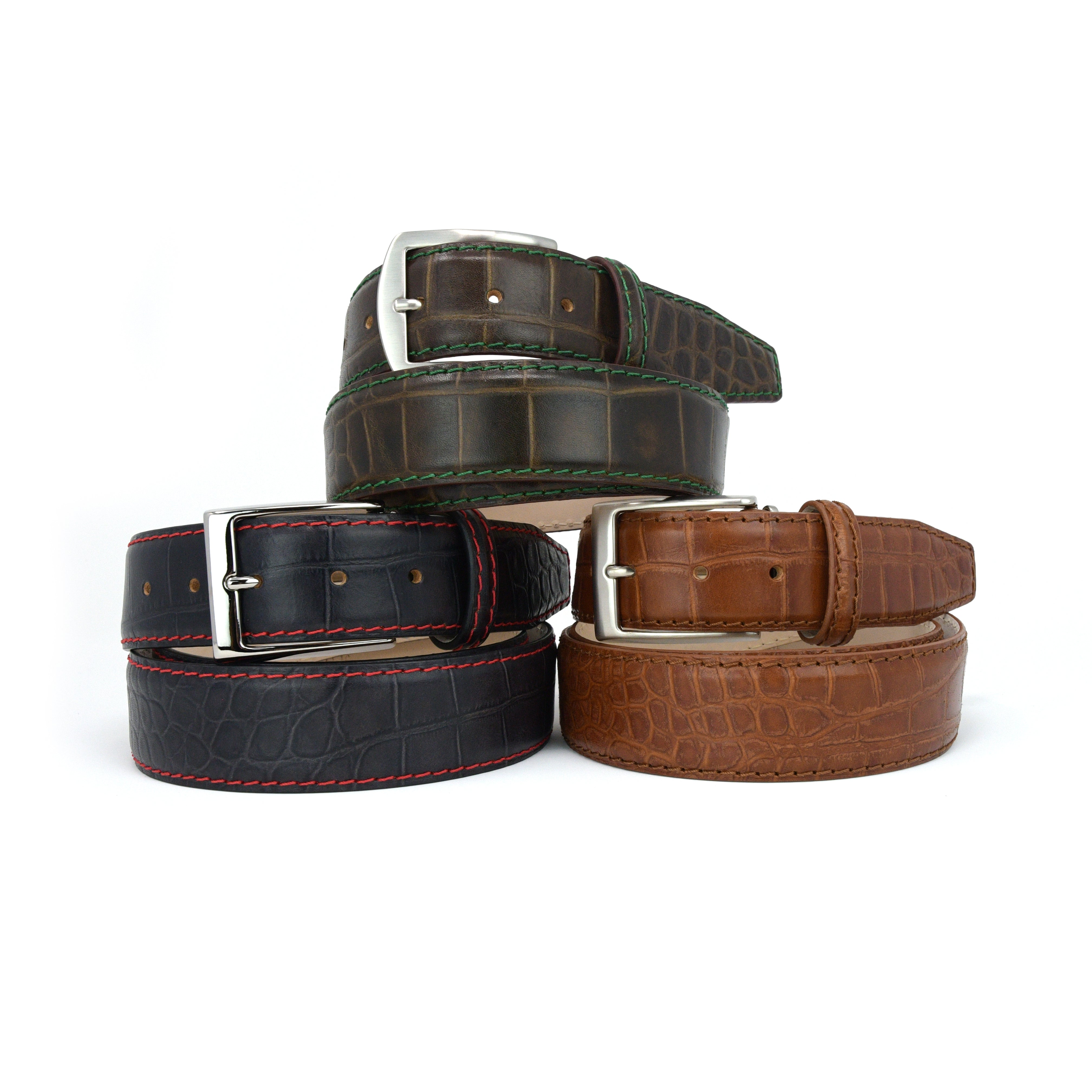 Matte Mock Gator Belt - Charcoal