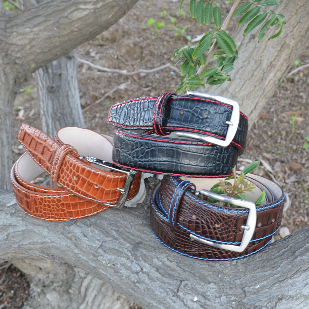 Mock Crocodile Belt - White