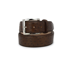 Italian Calf Skin Ostrich Belt - Brown