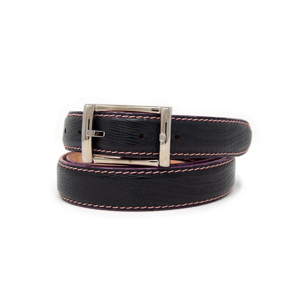 SAMPLE SALE - Faux Lizard Belt 30mm - Black