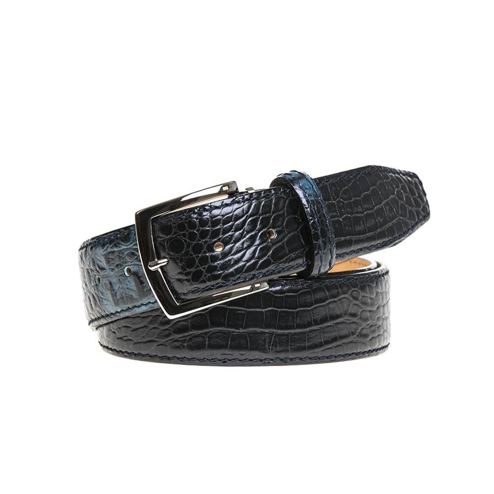 Two-toned Mock Croc Belt - Blue