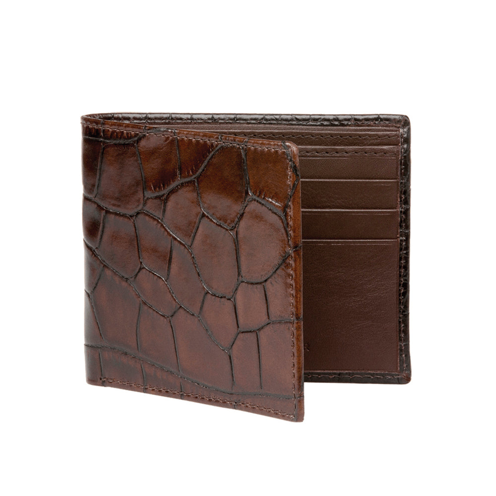 Men's Mock Croc Wallet - Chestnut