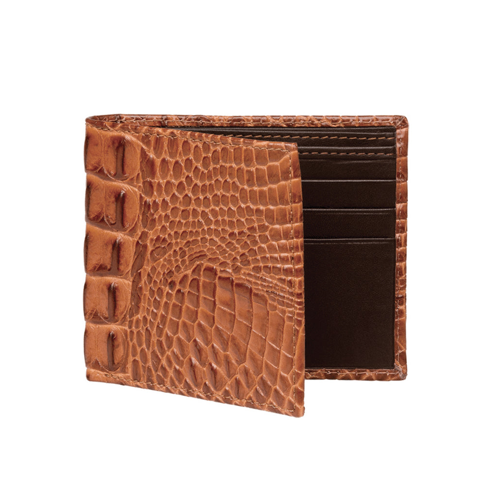 Men's Mock Croc Wallet - Cognac