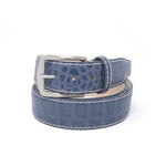 Matte Mock Croc Belt - Steel Grey