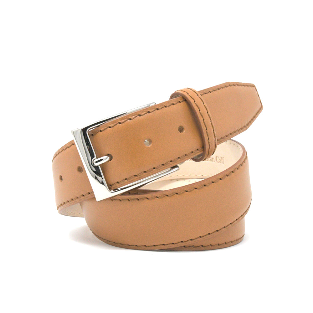 Italian Matte Calf Skin Belt - Tan