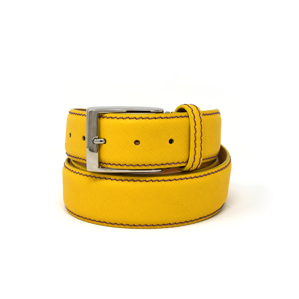 SAMPLE SALE - Saffiano Belt - Yellow