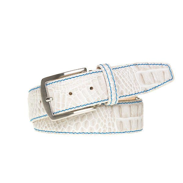 Pre-cut - Antique Faux Crocodile Belt - Snow