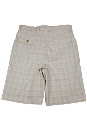Monterey Flat Front Short - Light Tan & Blue Mini Plaid