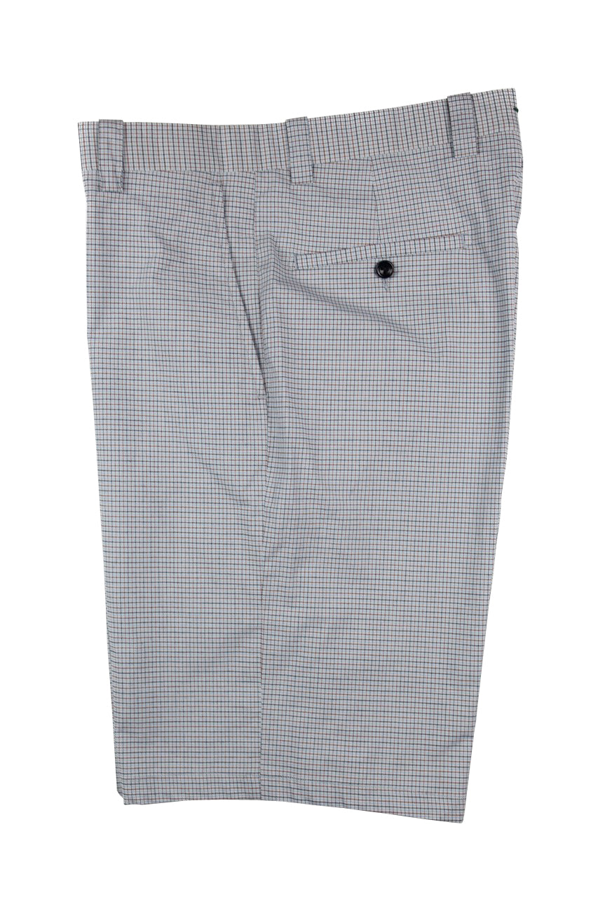 Monterey Flat Front Short - Azure Blue & Tan Mini Check