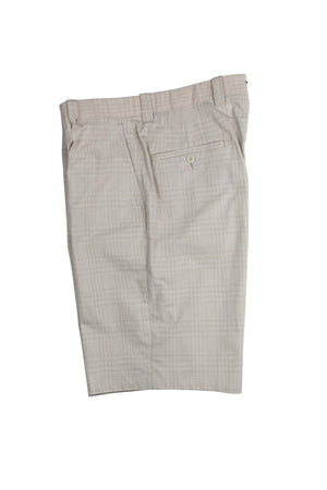 Monterey Flat Front Short - Wheat/Tan Cream Plaid