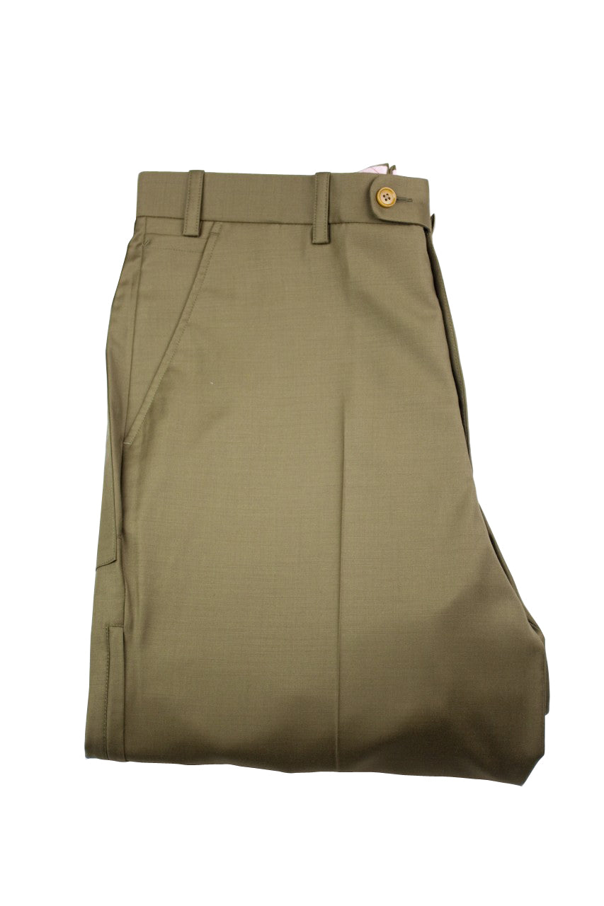 Aspen Flat Front Trouser with patch and zip pockets - Moss Green