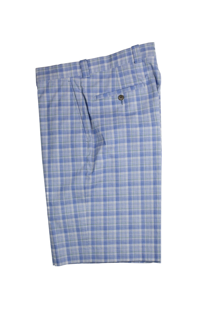 Monterey Flat Front Short - Cobalt Blue Mini Plaid