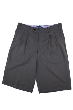 Montecito Pleated Gentlemans Walk Short - Grey/Brown Microfiber