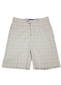 Monterey Flat Front Short - Light Tan & Blue