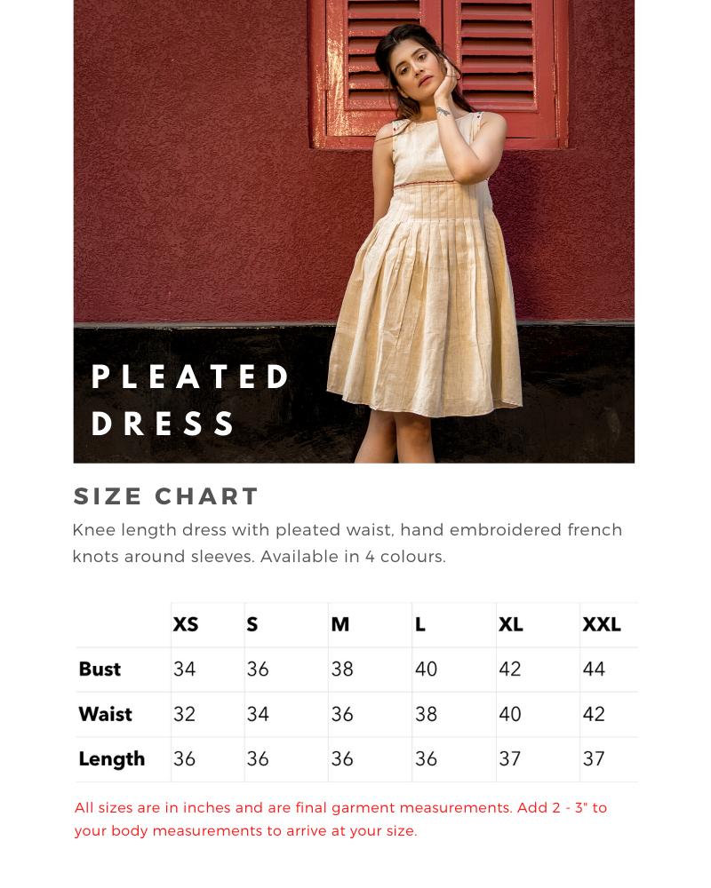 Sizing Chart for Pleated Dress