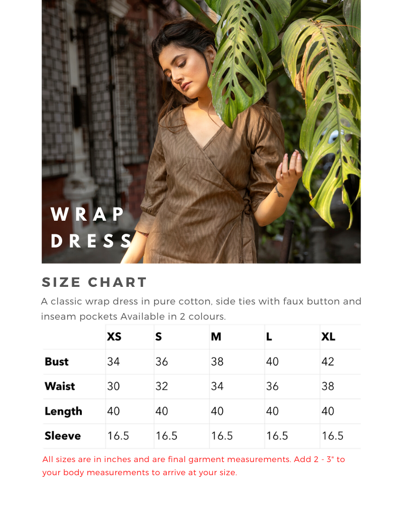 Sizing Chart for Wrap Dress