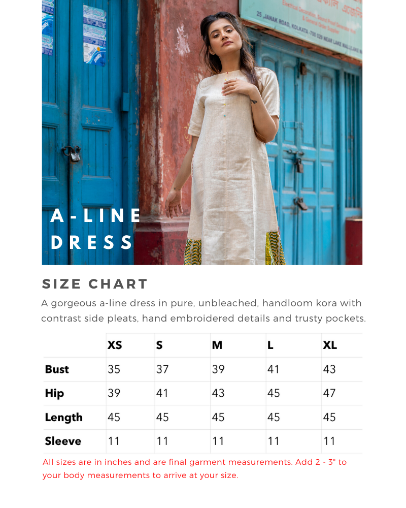 Size Chart for A-Line Dress