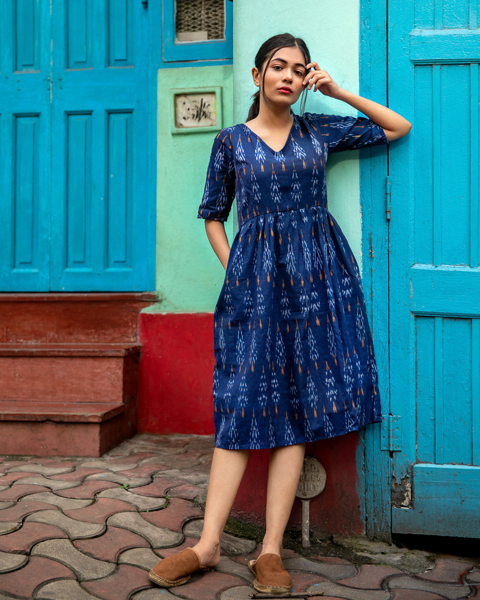 Indigo Ikat Dress with Gathered Waist