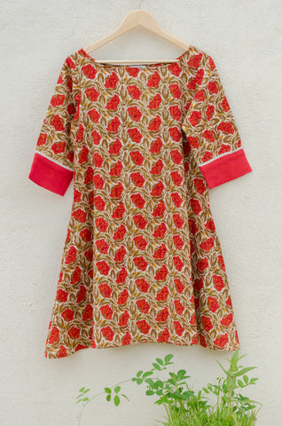 Red Daisies Flared Dress