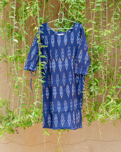 Indigo Ikat Shift Dress