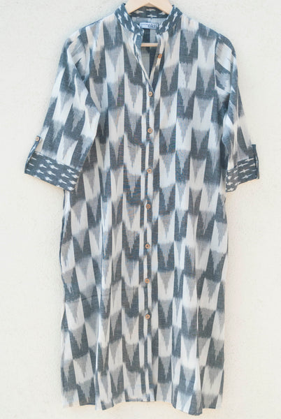 White-Grey Ikat Dress / Kurta
