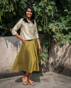 Olive Green Silk-Cotton Skirt