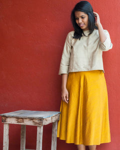 Yellow Silk-Cotton Skirt