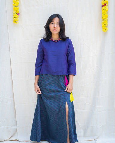 Duenna Purple Checks Skirt