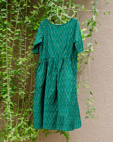 Green Ikat Dress with Gathered Waist - Last One Only!