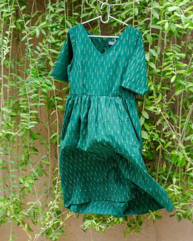 Green Ikat Dress with Gathered Waist