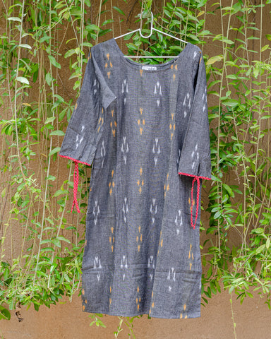 Grey Ikat Shift Dress