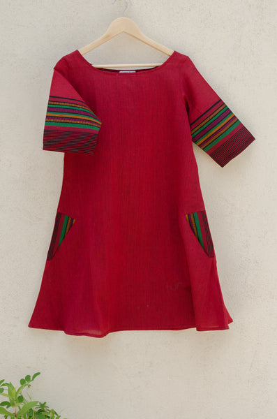 Swing Dress in Festive Maroon