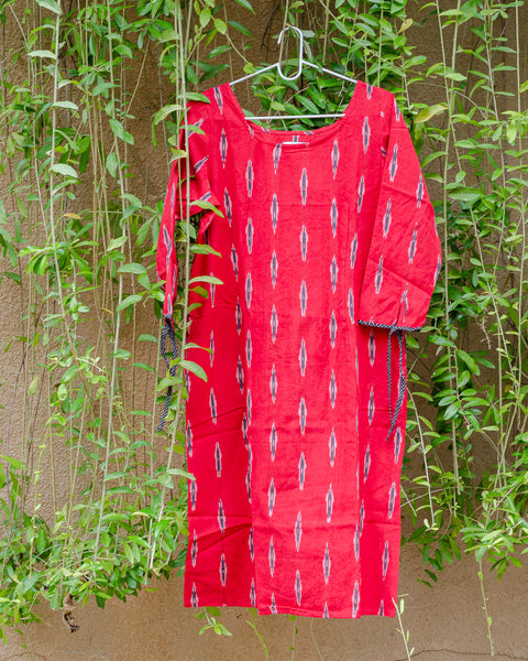 Bright Red Ikat Shift Dress