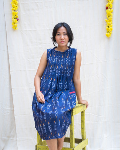 Indigo Ikat A-Line Dress