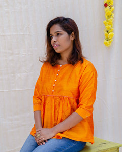 Resham Silk-Cotton Gathered Top