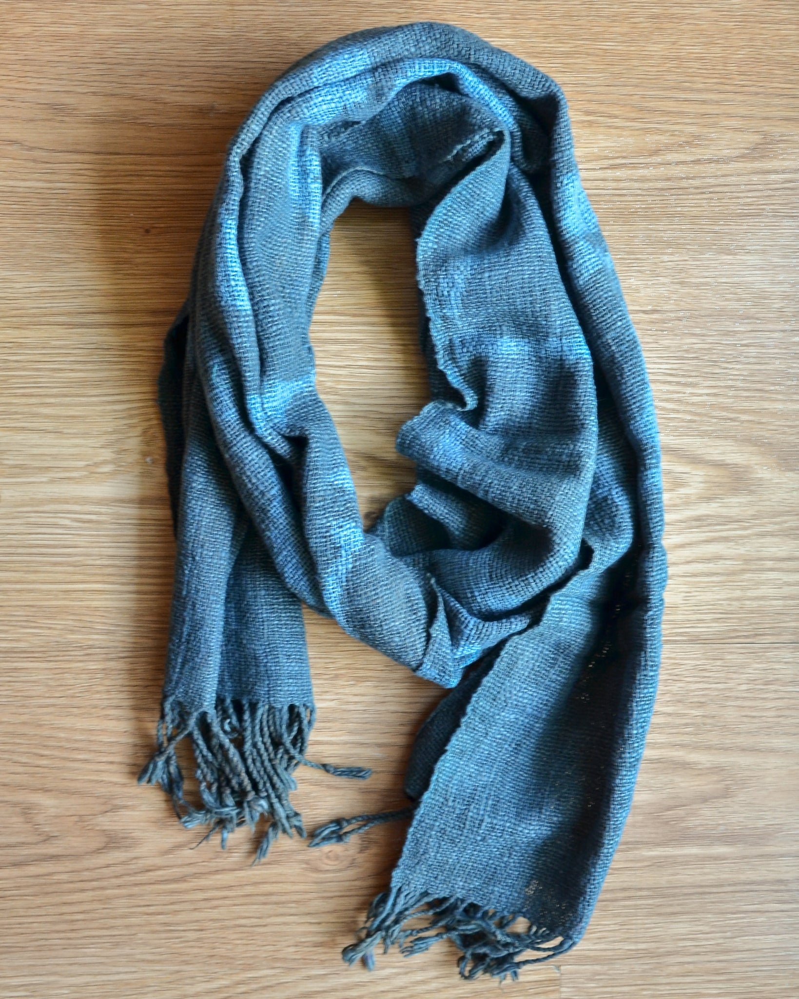 Clamp Dyed Handwoven Scarf in Blue Grey
