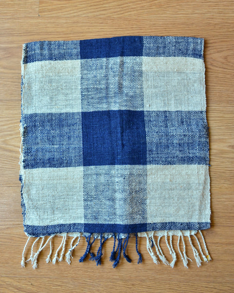 Handwoven Scarf in Blue Checks