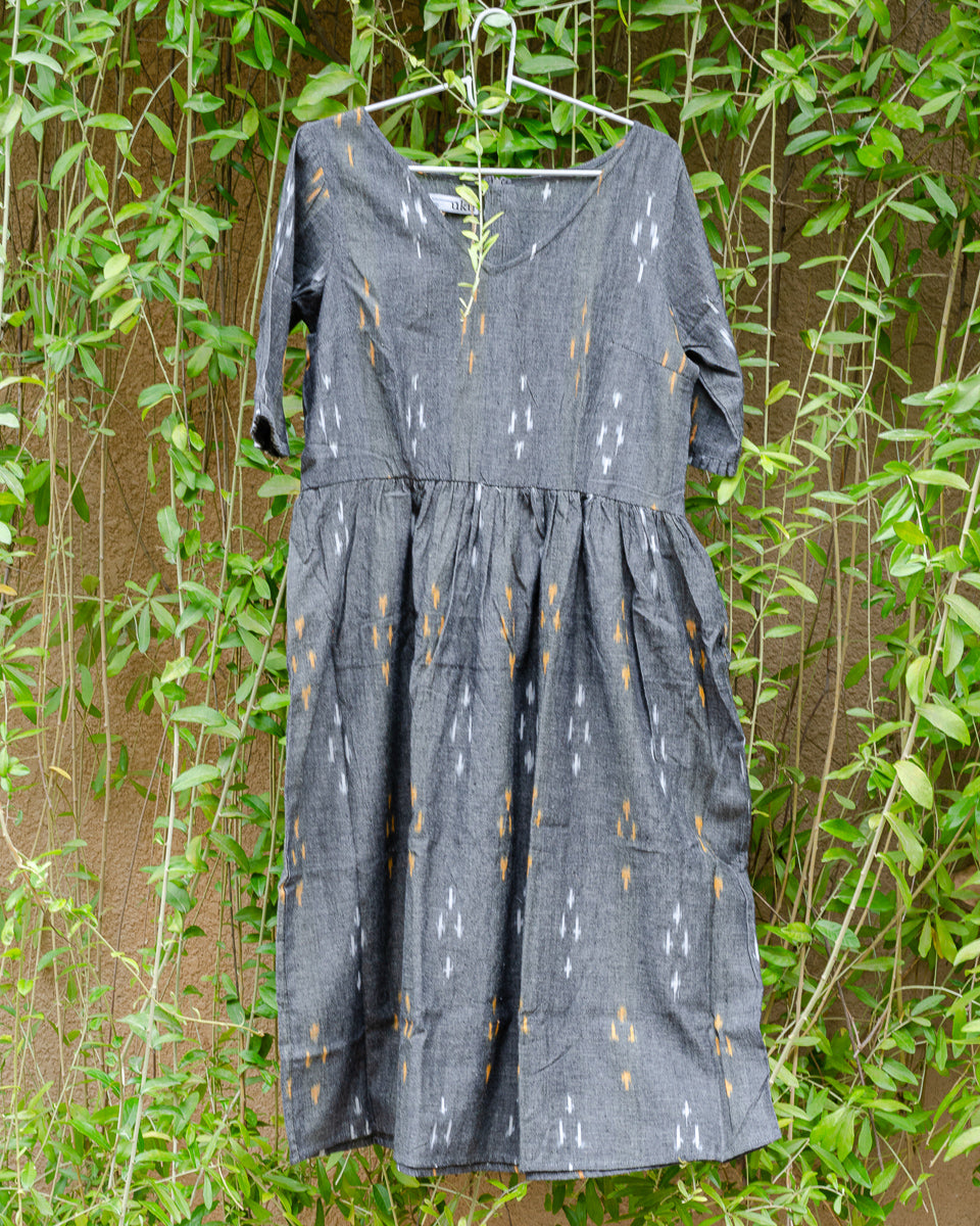 Grey Ikat Dress with Gathered Waist
