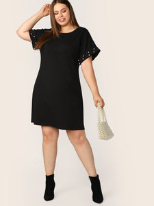 Plus Pearls Beaded Cuffed Sleeve Dress