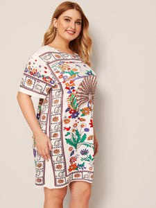 Plus Tribal Print T-shirt Dress