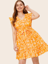 Plus Floral Print Ruffle Hem Belted Dress