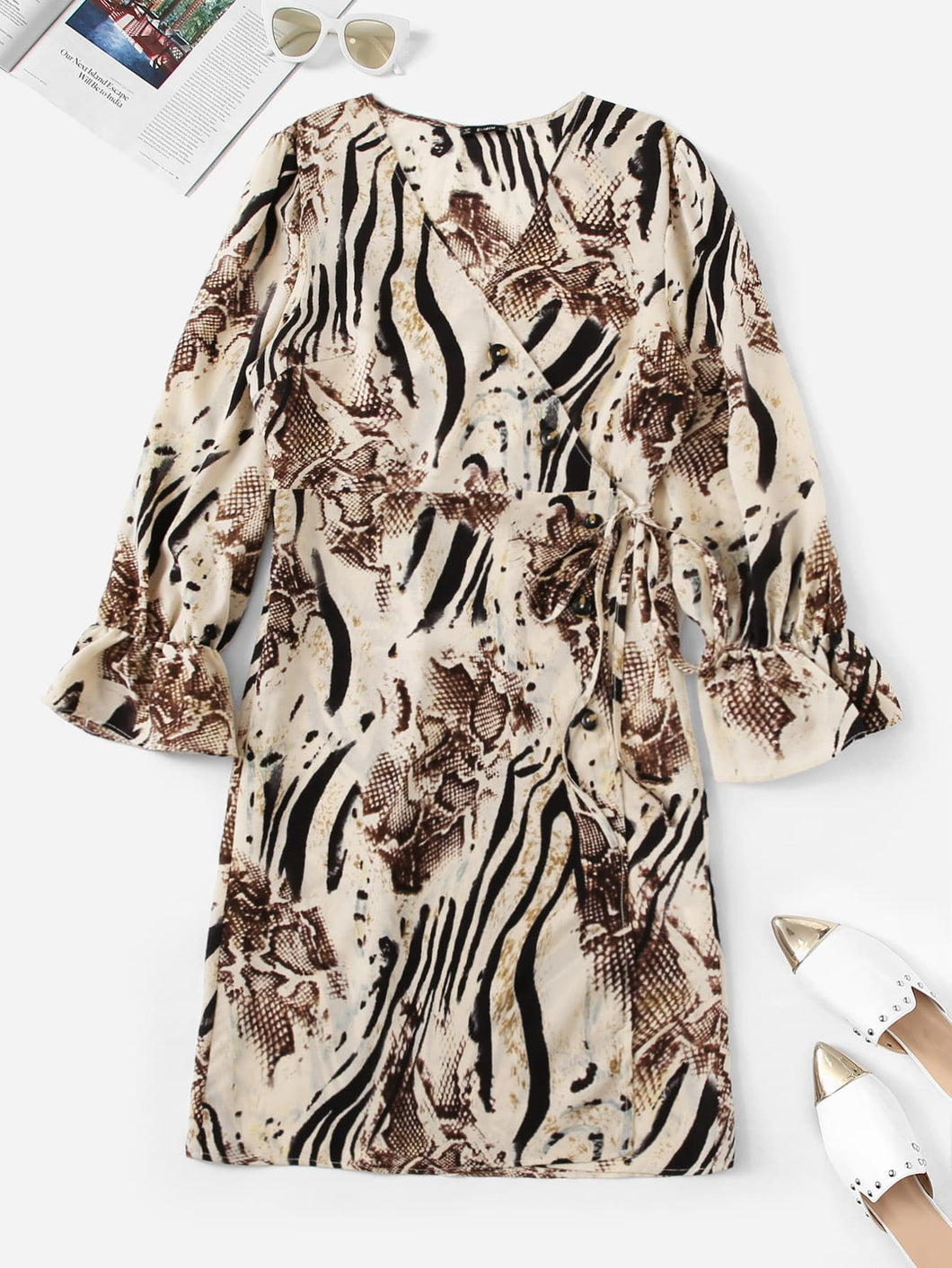 Plus Animal Print Bell Sleeve Wrap Dress