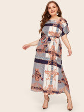 Plus Mixed Scarf Print Curved Hem Belted Dress