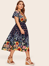 Plus Wrap Front Floral Print Dress