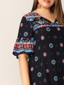 Plus Tribal Print Ruffle Sleeve Dress