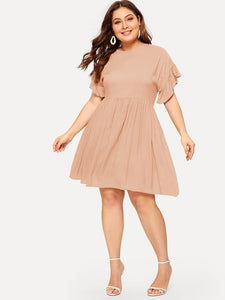 Plus Ruffle Trim Pleated Dress