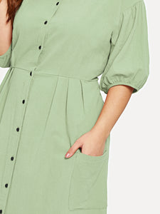 Plus Pocket Button Front Shirt Dress