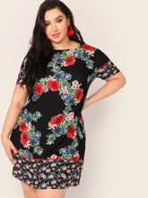 Plus Floral Print Tunic Dress