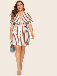 Plus Deep V-neck Striped Dress